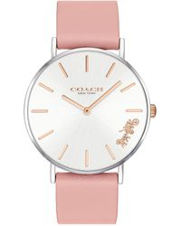COACH - Perry Blush Leather Strap Analog Watch - Lyst