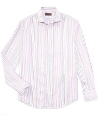 Thomas Dean Big Tall Multi-color Stripe Long-sleeve Woven Shirt - Pink