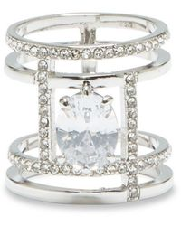 Vince Camuto Crystal Open Work Ring - Metallic