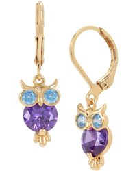 Betsey Johnson - Cz Owl Drop Earrings - Lyst