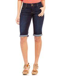 """Democracy """"ab"""" Solution Roll-cuff Bermuda Shorts - Blue"""