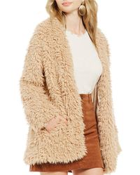 Chelsea & Violet Faux Fur Teddy Jacket - Natural