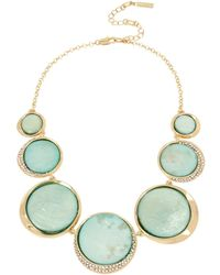 Kenneth Cole - Teal Shell Pave Disc Frontal Necklace - Lyst