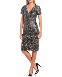 Belle By Badgley Mischka Lainey Wrap Cheetah Print Allover Sequin V-neck Sheath Dress - Multicolor