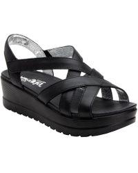 Alegria Quarter Strap Leather Myka Sandal - Black
