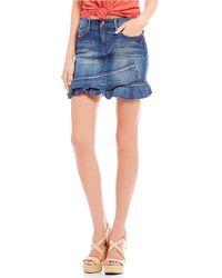 Jessica Simpson - Kiss Me Ruffle Denim Mini Skirt - Lyst