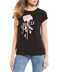 Guess - Short Sleeve Flower Logo Graphic Tee - Lyst