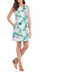 Tommy Bahama Hibiscus Hues Tropical Floral Print Sleeveless Linen Shift Dress - Green