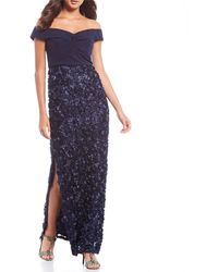 Aidan Mattox Off - The - Shoulder Floral - Embellished Gown - Blue