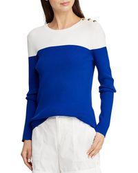 Lauren by Ralph Lauren - Colorblocked Cotton-blend Sweater - Lyst