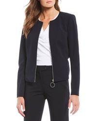 Calvin Klein Scuba Crepe Zip-front Jacket - Blue