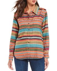 Tasha Polizzi - Rambler Serape Woven Stripe Snap Front Cotton Shirt - Lyst