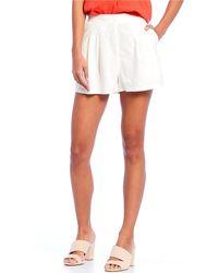 Chelsea & Violet High Waist Pleated Linen Short - White