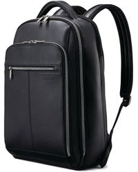 Samsonite Classic Full Size Deluxe Leather Backpack - Black