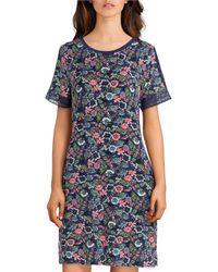 Sesoire Floral Print Modal Short Gown - Blue