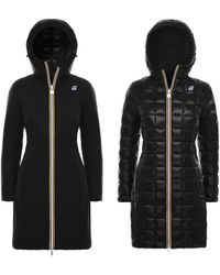 K-Way Charlene Thermo Krinkle Double Long Jacket - Black