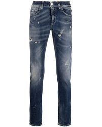 Dondup Jeans With Turn-up And Worn Effect - Blue