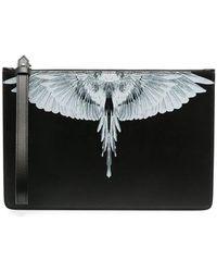 Marcelo Burlon Wings Pattern Clutch Bag - Black
