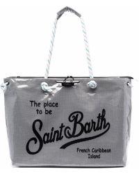 Mc2 Saint Barth Mesh Slogan Print Tote Bag - Gray