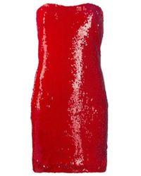 Dondup Embellished Strapless Dress - Red