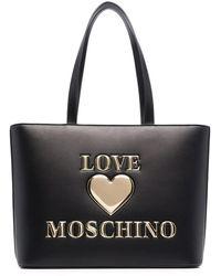 Love Moschino Borsa Tote In Ecopelle Trapuntata Con Logo - Nero