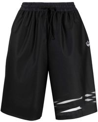adidas Sheer Stripe-print Shorts - Black