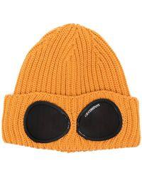 C.P. Company Cappello A Cuffia Con Lenti Logo - Arancione
