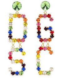 Gcds Crystal-embellished Logo Earrings - Metallic