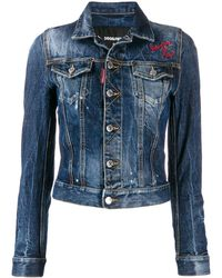 DSquared² Cropped Embroidered Denim Jacket - Blue