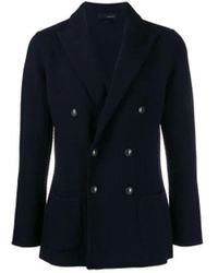 Lardini Double-breasted Knitted Blazer - Blue