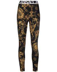 Versace Jeans Couture Leggings Con Stampa Barocca Regalia - Nero