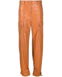 MSGM - Faux-leather Cuffed Ankle Trousers - Lyst