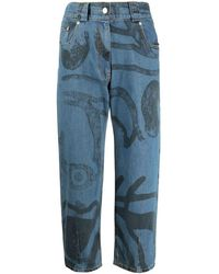 KENZO Graphic Motif Cropped Jeans - Blue