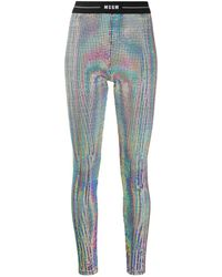 MSGM Holographic Texture Trousers - Metallic