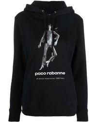 Paco Rabanne Logo-print Cotton Hoodie - Black