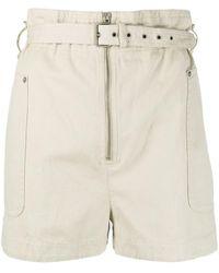 Étoile Isabel Marant Paperbag-waist Belted Shorts - White