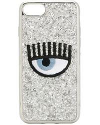 Chiara Ferragni Cover Per Iphone 7/8 Occhio Ricamato E Glitter - Metallizzato