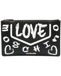 Love Moschino Pochette A Bustina Con Logo Graffiti - Nero