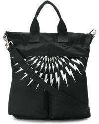 Neil Barrett Lightning Bolt Print Backpack-bag - Black