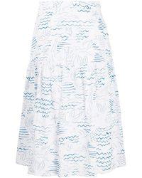KENZO Mermaid Print A-line Skirt - White
