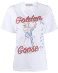 Golden Goose Deluxe Brand Cow Girl Print T-shirt - White