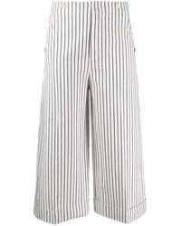 Dondup Pantaloni Crop A Righe - Bianco