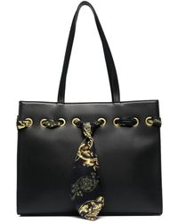 Versace Jeans Couture Baroque-scarf Tote Bag - Black