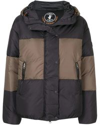 Save The Duck Color Block Design Padded Jacket - Black