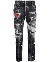 DSquared² Slogan-print Slim-fit Jeans - Multicolour