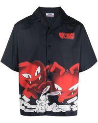 Gcds Cartoon-print Shirt - Black