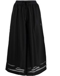 adidas Sheer-panelled Wide-leg Trousers - Black