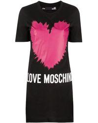 Love Moschino Heart Logo Print T-shirt-dress - Black