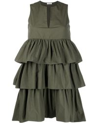 P.A.R.O.S.H. Canyon Tiered-ruffle Mini Dress - Green