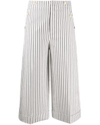 Dondup Cropped Striped Pattern Pants - White